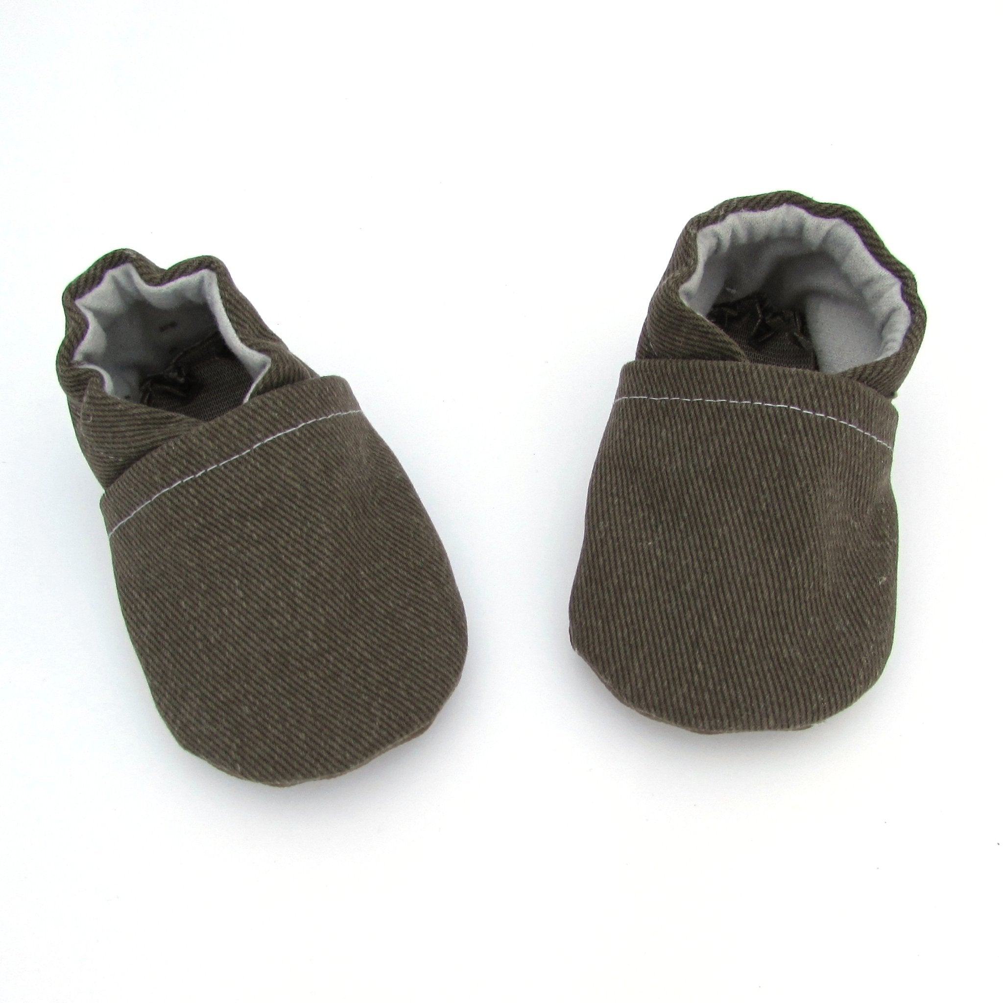 Olive Brushed Denim Baby Shoes