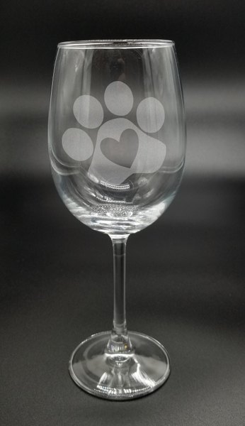 Paw Heart - Etched Glass