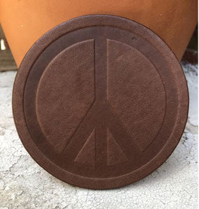 Peace Sign Assorted Leather Coaster