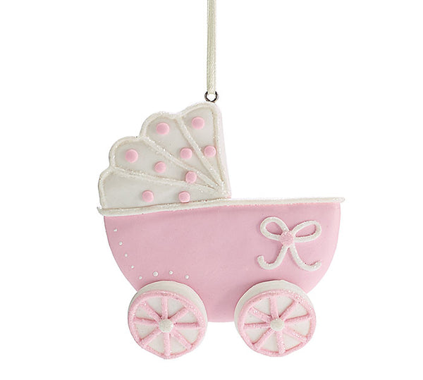 Baby Carriage Ornament in Pink or Blue