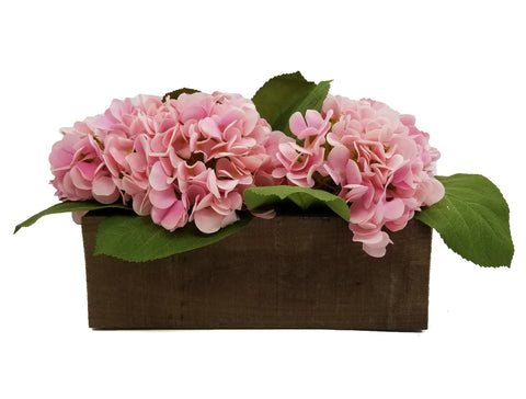 Pink Hydrangea Floral Arrangement in Wood Box