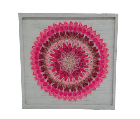 Pink Quilled Mandala on White Wood Plaque