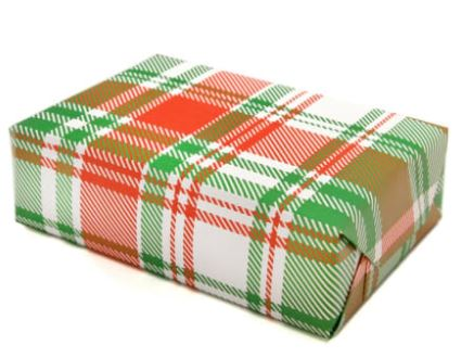 Roll of Plaid Wrap Sheets in Red & Green (3 Sheets)