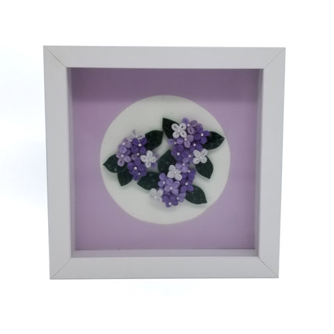 Quilled Purple Hydrangeas with White Frame