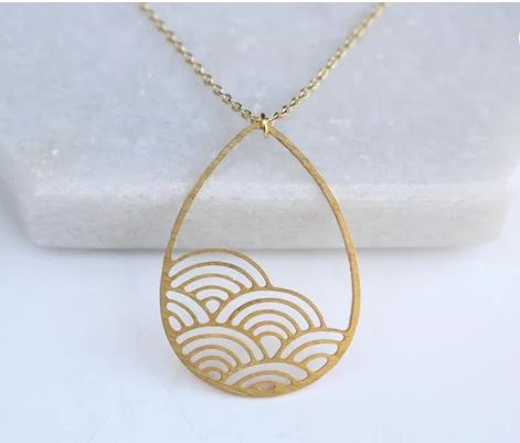 Raindrop Cloud Necklace | Brass