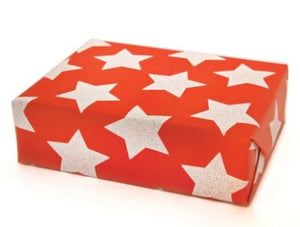 Roll of Star Gift Wrap in Flame Red (3 Sheets)