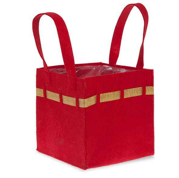 Red Square Felt Handle Bag with Gold Trim