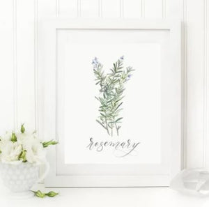 "White 8 x 10 textured print with a watercolor bunch of rosemary with ""rosemary"" written in a script underneath"