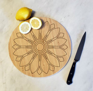 Sunflower Mandala (Round) - Bamboo Cutting Board