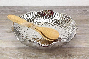 Large Salad Bowl Set - Features Bamboo Servers - 3pcs
