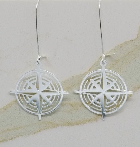 Compass Earrings | Silver