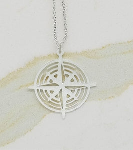 Compass Necklace | Silver