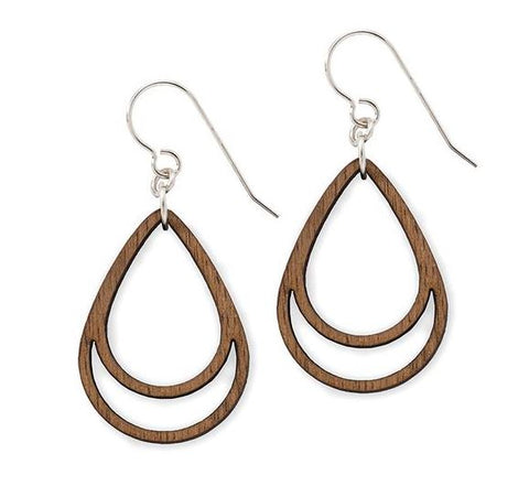 Simple Drop Earrings in Walnut