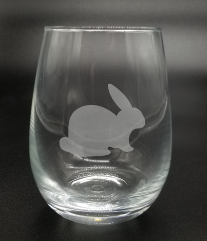 Crouched Bunny - Etched Glass