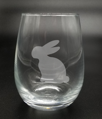 Sitting Down Bunny - Etched Glass