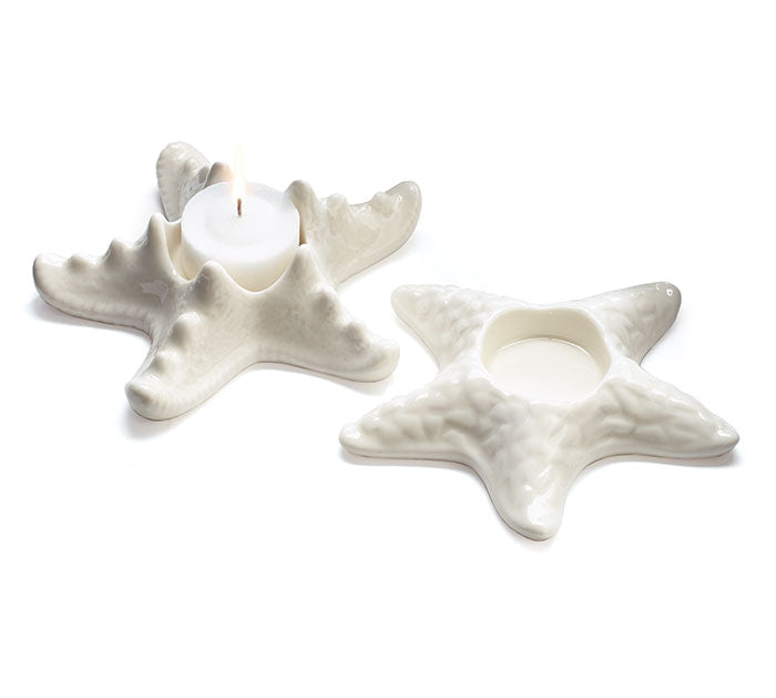 Ceramic Starfish Votive Candleholder Set