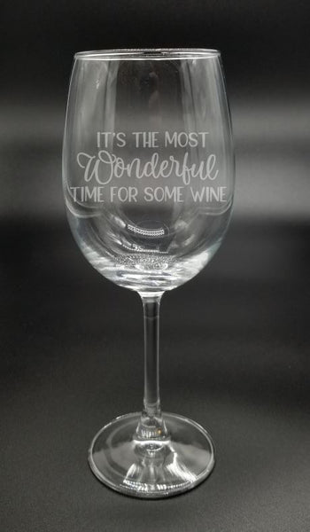 It's the Most Wonderful Time for Some Wine - Etched Glass