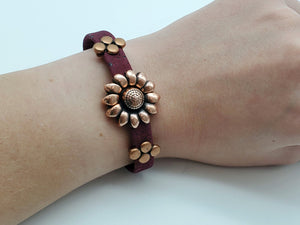 Cork Bracelet with Sunflower Clasp