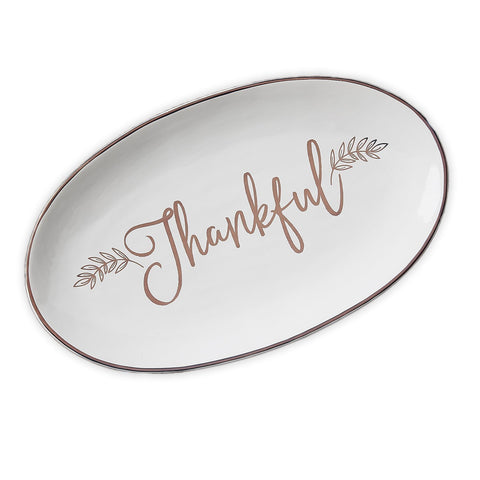 Beautiful white oblong earthenware platter with a gold border and Thankful written in script on the face.