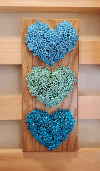 Three Quilled Hearts on Wood Plaque