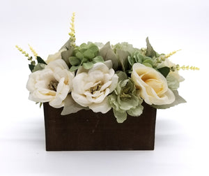 Green and White Floral Arrangment in Dark Wood Box