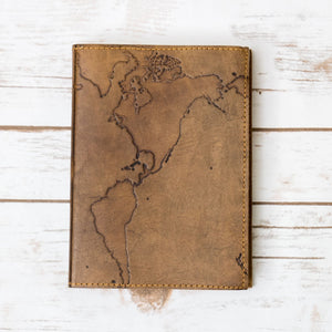 Refillable World Map Leather Journal - Dot Grid Paper