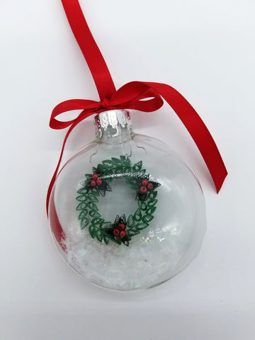 Quilled Wreath Glass Bulb Ornament