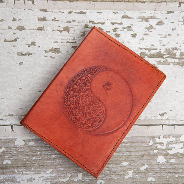 Refillable Ying-Yang Handmade Leather Journal -Unlined Paper