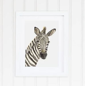 White 8 x 10 textured print with a watercolor Zebra head