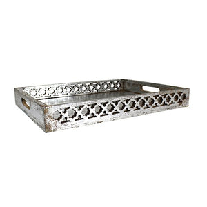 Trellis Tray Medium in Distressed Silver