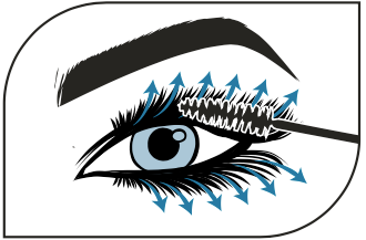 usage diagram of applicator swiping from base of lashes outward to ends of lashes