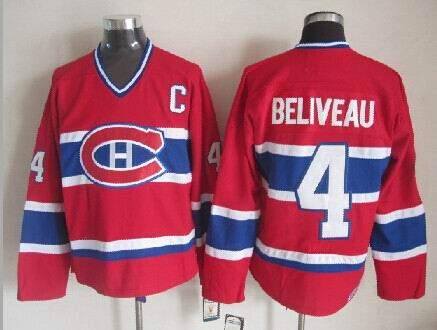 Jean Beliveau Montreal Canadiens NHL CCM Vintage Jersey Red
