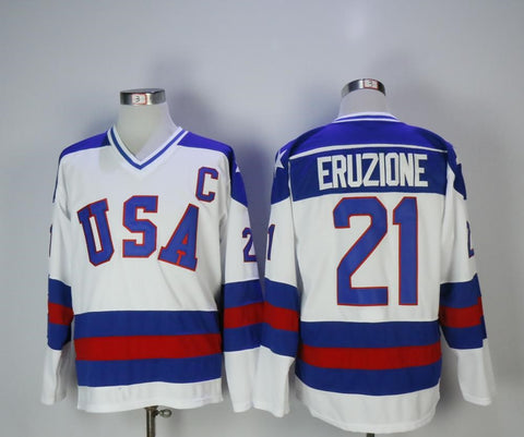 Mike Eruzione Team USA International IIHF Olympic Jersey White