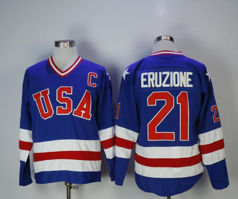Mike Eruzione Team USA International IIHF Olympic Jersey Blue