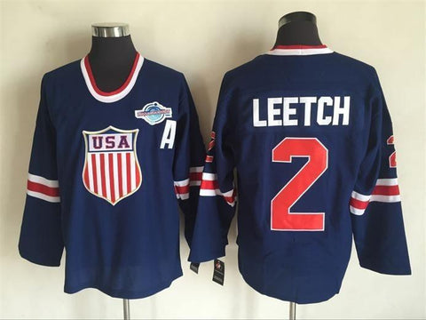 Brian Leetch Team USA International IIHF Olympic Jersey Blue