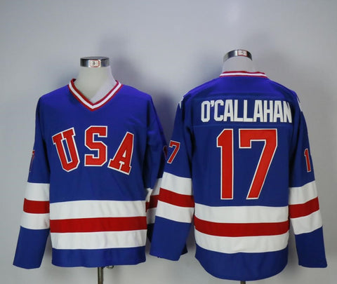 Jack O'Callahan Team USA International IIHF Olympic Jersey Blue