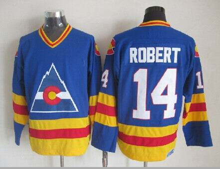 Rene Robert Colorado Rockies NHL CCM Vintage Jersey Blue