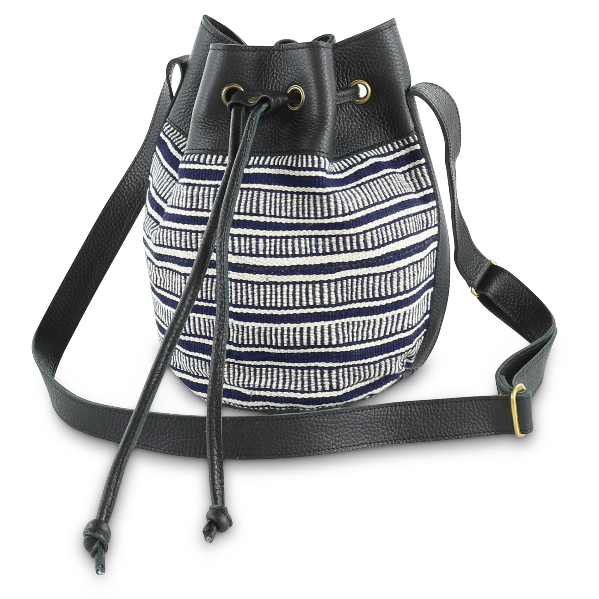 Bella Bucket Bag: Navy Laddered Country Cloth