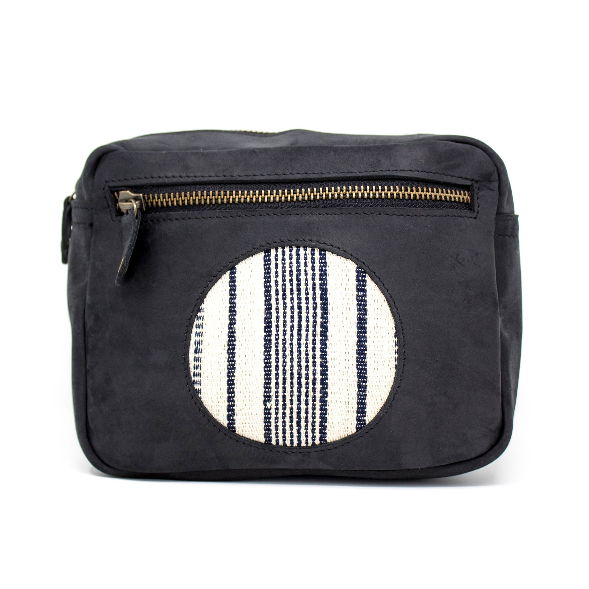 Heli Crosspack: Black Nubuck + Cream / Navy Striped Country Cloth