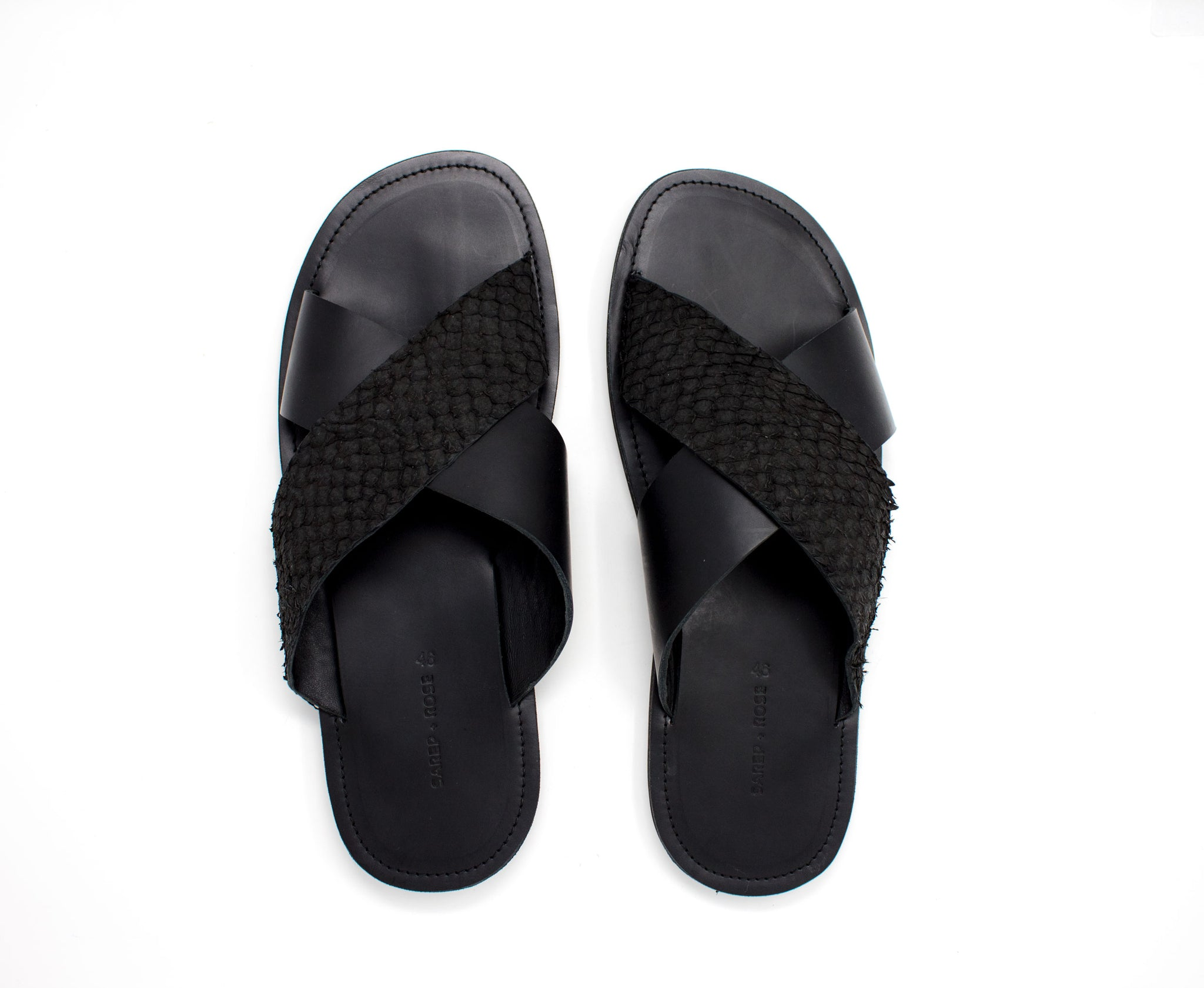 Fishskin Leather Sandal: Black on Black