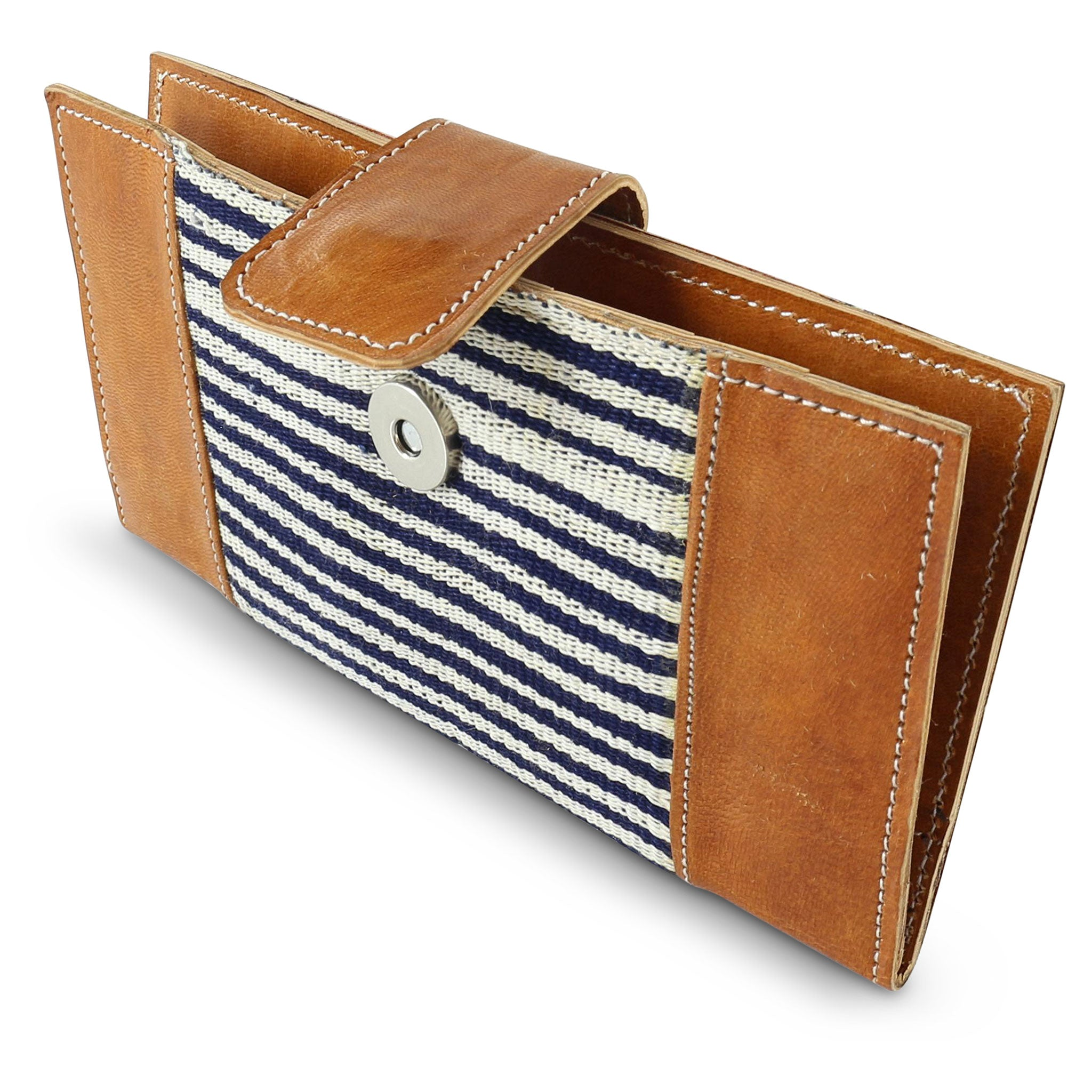 Country Cloth Wallet: Tan + Narrow Indigo