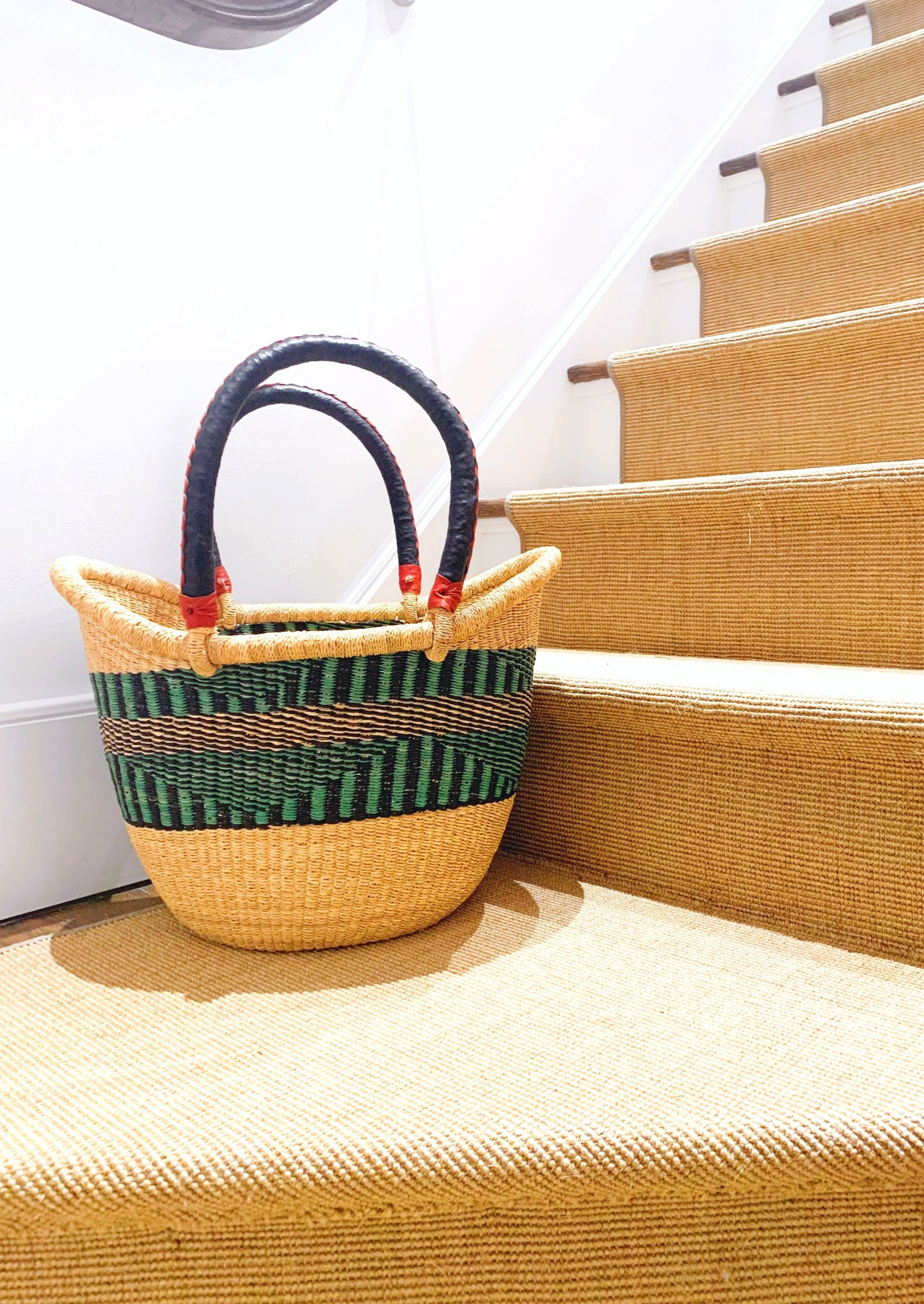 Large Tote Basket: Aqua Band (1 of 1)