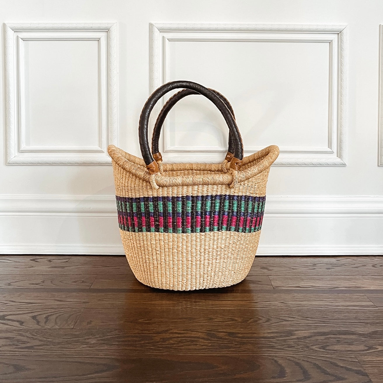 Large Tote Basket: Purple and Pink