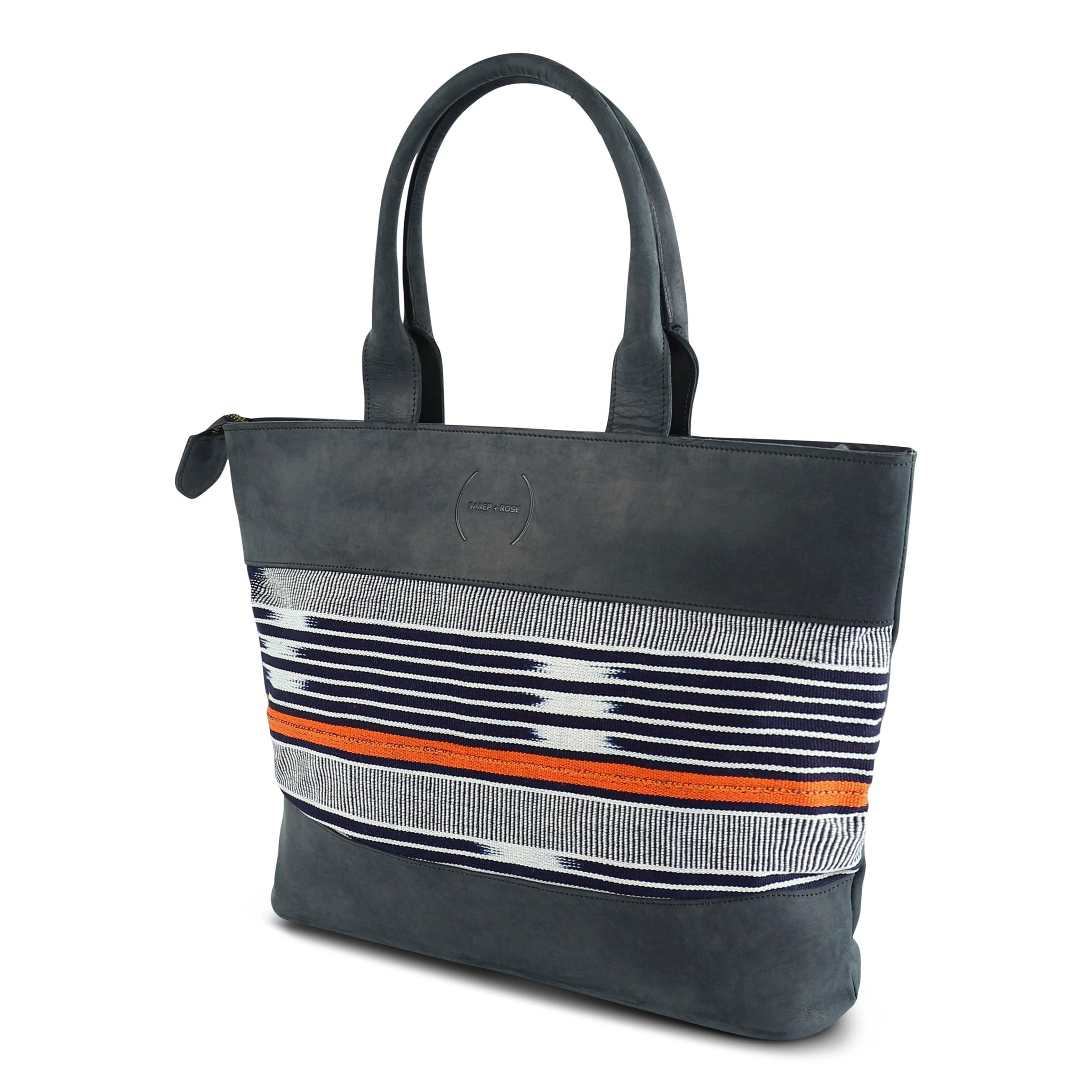 Robin Tote: Navy Nubuck + Navy Orange Baoulé