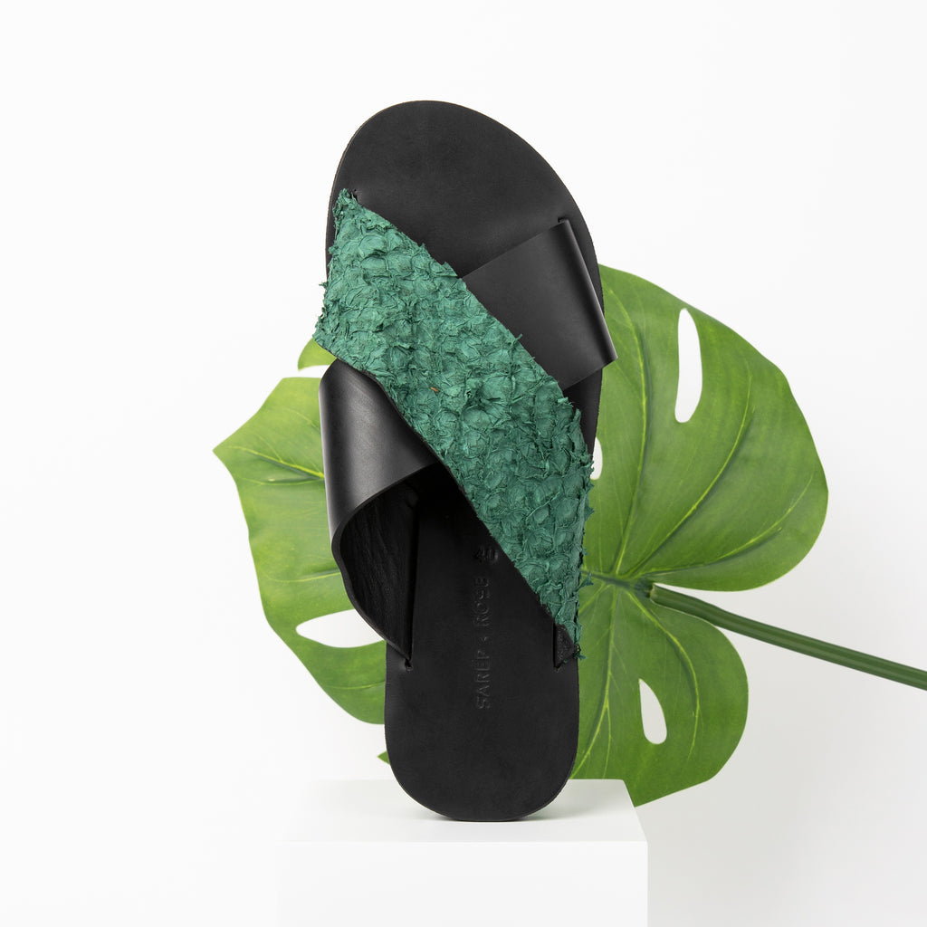 Fishskin Leather Sandal: Green
