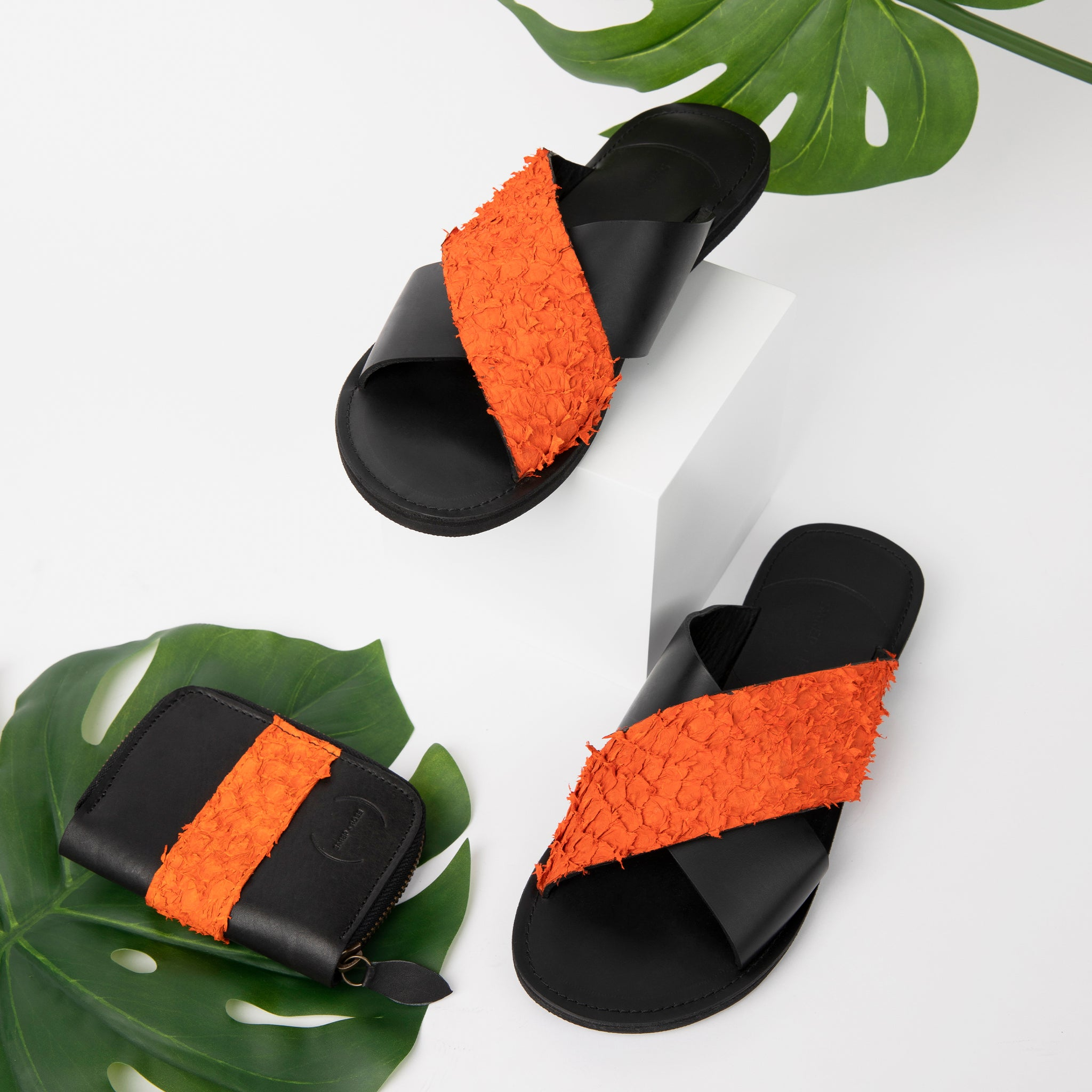 Fishskin Leather Sandal: Orange