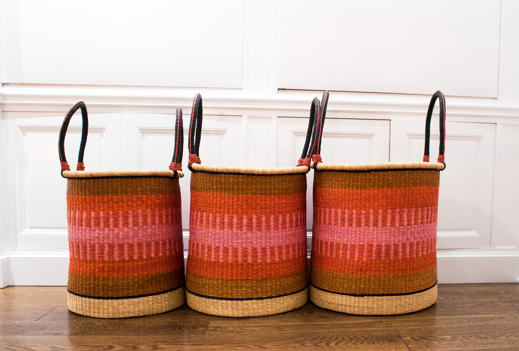 Handmade African Laundry Basket set of 3