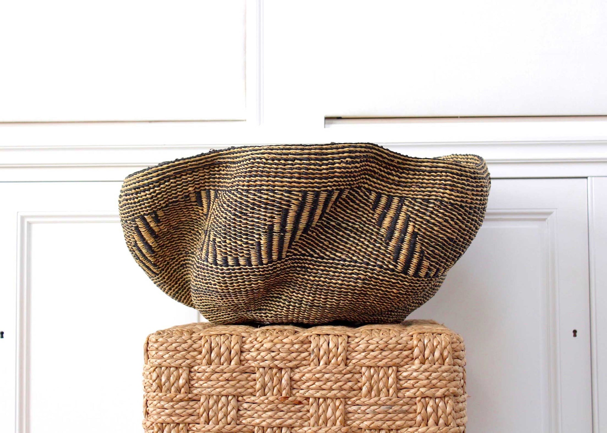 Large Wave Basket: Natural Monochrome