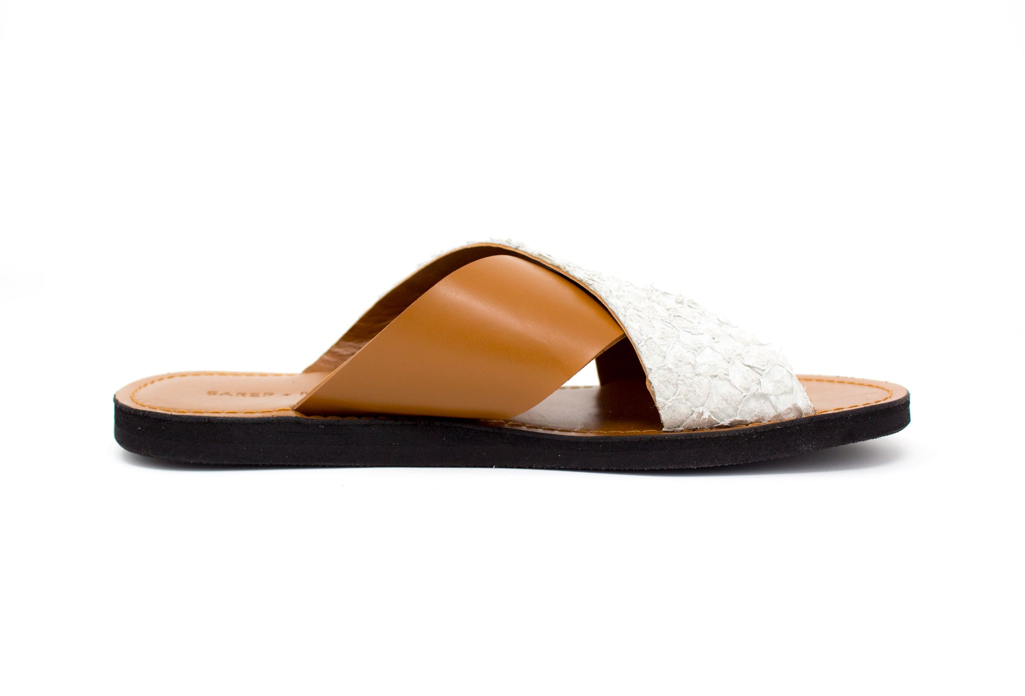 Fishskin Leather Sandal: Caramel + White