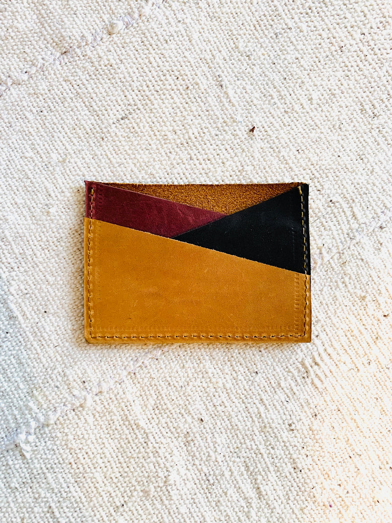 Tri-color card wallet : Burgundy Earth